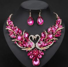 Elegant and cheap jewelry set of earrings and necklace for women. This jewellery set comes in 10 colors like red, blue, green, purple crystals and more. Bridal Jewelry Sets, Bridal Accessories, Jewelry Accessories, Prom Necklaces, Cheap Jewelry, Hair Jewelry, Gold Jewelry, Necklace Set, Pendant Necklace