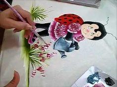 Joaninha Flor - Pintura em Tecido - How to paint country art - YouTube