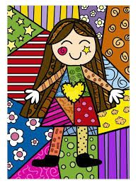 Long-haired Girl pop-art by Romero Britto - this one reminds me of my daughter when she was a little girl Art Pop, Drawing For Kids, Art For Kids, Arte Elemental, Art Plastique, Elementary Art, Art Lessons, Painted Rocks, Coloring Pages