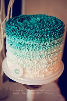 turquoise buttercream ombre ruffle cake by cake envy: pinned with permission