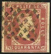 Sardinia I em. c.40 rosa carminio n.7a, perfetto - Sassone n.3b - ann. a rombi - qualità corrente - En.D. - R.D. (cert.1998) - P.V. (cert.2016) - (55756F)