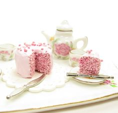 Polymer Clay Cake Pink Dollhouse Miniature with Sprinkles 1 Inch Scale