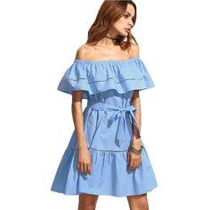Summer Dresses For Women Clothing Blue Tie Waist Hollow Insert Ruffle Short Sleeve Off The Shoulder Dress