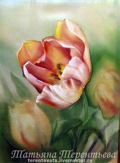 тюльпаны - холодный батик,тюльпаны,оливковый,оливковый цвет,Батик,роспись по ткани