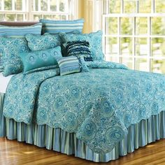 Scrolling blue and green paisley swirls ebb and flow across the Oceana Paisley Bedding Collection; now available from our friends at Ocean Styles.    The beautiful bedding's pattern is mirrored on the standard shams, while the Euro shams and dust ruffle have a coordinating stripe pattern of
