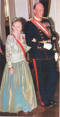 Princess Ragnhild, with her brother, King Harald, in 1995, during an Austrian State Visit.