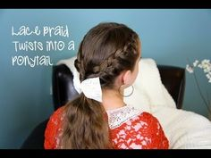 A cute Lace Braid Twists into Ponytail! {with a 5-minute video tutorial and more photos}  #Braids #Hairstyles #LaceBraid