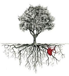 Rooted - Ink with Color - WetCanvas tree tattoo Tree Of Life Art, Tree Art, Tree Roots Tattoo, Tree Tattoos, Life Tree Tattoo, Tree Tattoo Arm, Cat Tattoo, Globus Tattoos, Tree Sleeve