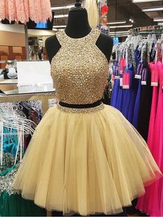 Short Homecoming Dresses Two Pieces Halter Sequins Beads Skirt Cocktail Party Dress Sparkly Arabic Mini Prom Gowns Graduation Dress Homecoming Dresses 2017, Two Piece Homecoming Dress, Prom Dresses Two Piece, Dresses Short, Hoco Dresses, Tulle Prom Dress, Quinceanera Dresses, Sexy Dresses, Cute Dresses