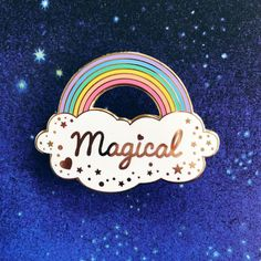 Magical Rainbow Pin from Magic Circle high quality hard enamel with gold plating, 2 Rubber heart shaped backs Birthday Wishes For Myself, Bag Pins, Magic Circle, Cool Pins, Star Butterfly, Pin And Patches, Pin Badges, Gold Plating, Lapel Pins