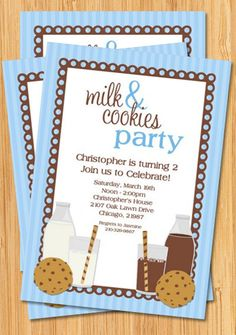 birthday invite for milk and cookies party