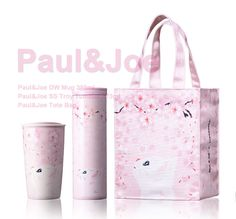 Starbucks 2017 collaboration Paul & Joe tote bag double wall mug SS Troy SET Cute Water Bottles, Schlitz Beer, Pink Cups, Starbucks Tumbler, Paul Joe, Advertising Signs, Bento Box, School Supplies, Kawaii
