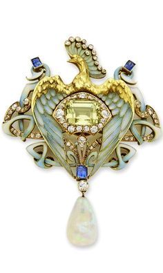 An Important Art Nouveau enamel and gem-set necklace, by Philippe Wolfers - Of stylized peacock design, finely sculpted and decorated with light blue plique-a-jour enamel, diamond-set head feathers, diamond-set and enamel scroll detail centring a rectangular mix-cut chrysoberyl suspended by a sapphire, an old-cut diamond and an opal drop. The gold detachable necklace with oval links attached to the pendant and set at the terminals with two step-cut sapphires. Circa 1902.