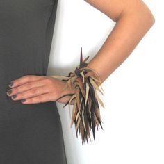 Leather jewelry fringe cuff earth tones reclaimed by maslinda, $58.00