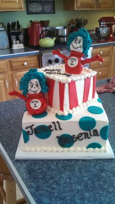 A thing 1 & thing 2 cake! Vanilla cake with strawberry filling:) By Christina's Cakery