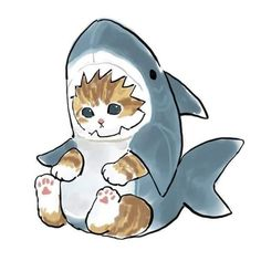 A cat-shark - cute post - Imgur Chat Kawaii, Kawaii Art, Cute Animal Drawings Kawaii, Kawaii Drawings, Cute Cartoon, Cartoon Art, Cat Cartoon Drawing, Cute Cat Drawing, Dibujos Cute