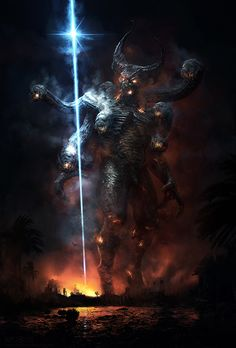 """7 heads demon//""""This is the end"""" film concept art, Sylvain Lorgeou // Syllo // Dark Fantasy Art, Fantasy Artwork, Fantasy World, Dark Art, Demon Art, Fantasy Monster, Creature Concept, Angels And Demons, Fantasy Inspiration"""