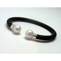 Pulsera de plata de primera ley de caucho con dos perlas enfrentadas