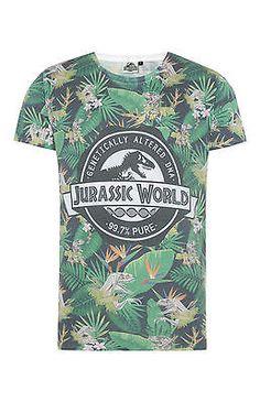 Mens JURASSIC WORLD T Shirt Primark Official Licensed JURASSIC PARK Film Tee