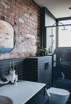 An industrial-style new brick house in Perth A family of creatives designed and built a striking new house in Perth's Mount Lawley that is inspired by the industrial heritage streetscape. Perth, Industrial House Numbers, Industrial Style, Brick Bathroom, Modern Bathroom, Black Tile Bathrooms, Contemporary Bathrooms, Bathroom Ideas, Bathroom Styling