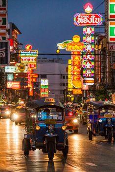 Tuk Tuks in Chinatown, Bangkok, Thailand Bangkok, Times Square, Street, Travel, Viajes, Trips, Traveling, Walkway, Tourism