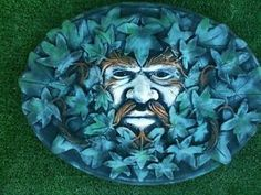 Hand painted stone green man hanging wall plaque garden ornament