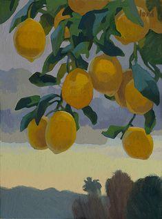 Forecast of Rain and Lemons by Carolyn Lord, Oil, 16 x 20 Aesthetic Painting, Aesthetic Art, Painting Inspiration, Art Inspo, Lemon Painting, Arte Sketchbook, Painting & Drawing, Rain Painting, Cute Art