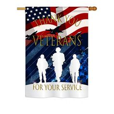 Angeleno Heritage Thank You Veterans Americana Military Impressions Decorative Vertical 28 inch x 40 inch Double Sided House Flag Printed American Flag, American Pride, Diy Friendship Bracelets Patterns, Yard Flags, Outdoor Crafts, 4th Of July Decorations, Patriotic Crafts, Blue Quilts, House Flags