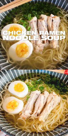 Chicken Soup Recipes, Healthy Chicken Recipes, Recipe Chicken, Cooking Recipes, Indian Food Recipes, Asian Recipes, Japanese Food Recipes, Ramen Noodle Soup, Ramen Noodles