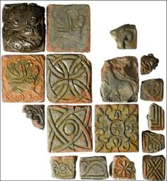 Relief tiles from the Cistercian nunnery at North Berwick, East Lothian. A tile kiln discovered there is the earliest known medieval floor tile kiln in Britain.