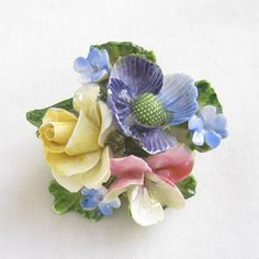 Vintage signed THORLEY Bone China, Made in England, Floral Bouquet Brooch or Pin