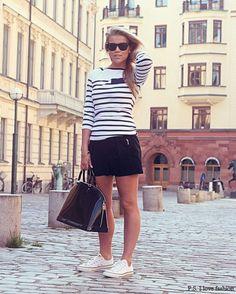 Shorts black  T stripes white black  Sneakers white   Purse black