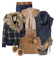 """""""Plaid Coat #2"""" by stylesbyjoey ❤ liked on Polyvore featuring AG Adriano Goldschmied, Bruuns Bazaar, Denim & Supply by Ralph Lauren, Miss Selfridge, Gucci, ISLO, Dorothy Perkins, top handle bags, plaid shoes and cowl neck sweaters"""