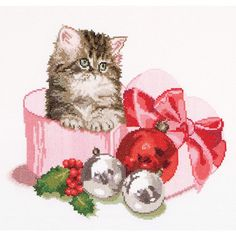 Thea Gouverneur counted-cross-stitch Kit Christmas Kitten On Aida