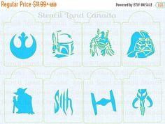 ON SALE Star Wars  ! cookie cupcake stencils , cake stencils set of 8 starwars design pattern