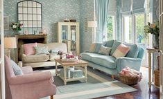 Find sophisticated detail in every Laura Ashley collection - home furnishings, children's room decor, and women, girls & men's fashion. Duck Egg Living Room, Pastel Living Room, Living Room Grey, Living Room Sofa, Living Room Decor, Duck Egg Blue And Yellow Living Room, Duck Egg Blue Bedroom, Laura Ashley Living Room, Laura Ashley Sofa