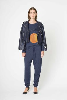 Friday Isoli sweartshirt & trousers with Angela Leather jacket from Ganni 2015 High Summer /Pre-Fall collection.