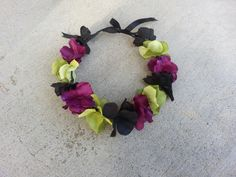 Purple Green and Black Floral Headband/ Flower by DevineBlooms