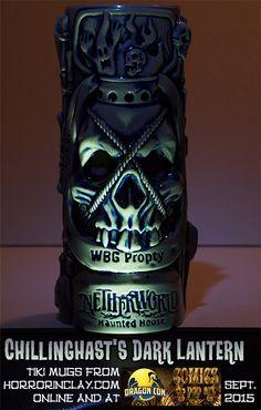Chillinghast's Dark Lantern Tiki Mug. The Collector strides through the hideous darkness, amidst the forgotten tombs of scores. His Dark Lantern, filled with the spirits of the dead, is raised high. Tiki Glasses, Steampunk Furniture, Tiki Bar Decor, Tiki Lounge, Hawaiian Tiki, Horror Decor, Bar Games, Homemade Art, Tiki Party