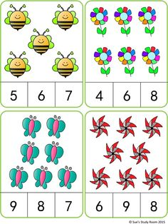 Spring Count and Clip Cards: Numbers 3 Lebensmittel, welche du meide. Kindergarten Math Worksheets, Preschool Learning Activities, Preschool Activities, Numbers Preschool, Learning Numbers, Math For Kids, Math Centers, Cards, Flashcard