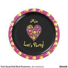 Girls Emoji Pink Black Partyware Plates