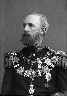 1880s Portrait of King Oscar II of Sweden and Norway.  One of the most successful Scandinavian kings, he was seriously lacking in royal ancestry.   Only through his grandmother, Princess Augusta of Bavaria, was he truly royal.  His other ancestors included some French aristocrats as well as French commoners.  This mixed ancestry certainly did not make him less of a king.