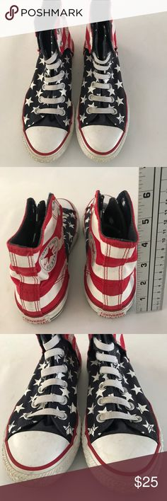 Converse high top Youth kids Unisex size 3 stars Patriotic stars blue red and white .Converse Chuck Taylor high top youth Unisex skater shoes.pre owned in good condition with minor stains and scuffs from use see photos before purchasing.#inventory500APE Converse Shoes Sneakers
