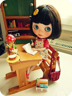 Grete by my side. I pack the orders for the shop and Grete paints in her book. by Herzlichkeiten, via Flickr