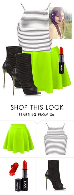 """""""Neon & Black"""" by weirdcass on Polyvore featuring LE3NO, Topshop, NYX, Giuseppe Zanotti, women's clothing, women's fashion, women, female, woman and misses"""