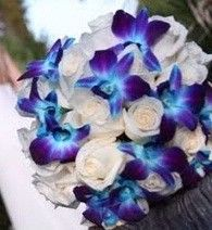 Blue Orchids & White Roses. I love these. I wonder how well it would go with a black and white wedding dresss....