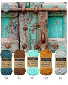 Turquoise, teal ,rust, gold color Scheme- Yarns or paint palette Yarn Color Combinations, Colour Schemes, Color Patterns, Pantone, Colours That Go Together, Ideias Diy, Colour Pallette, Design Seeds, Jolie Photo