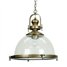 Gaia Industrial Pendant Light with Clear Shade - Antique Brass