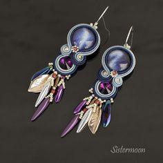 Shibori, Soutache Earrings, Drop Earrings, Purple Jeans, Hermes, Boho, Bracelets, Etsy, Embroidery