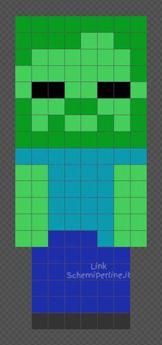 Lo Zombi di Minecraft schema perline da stiro Hama Beads 8x19 Minecraft Zombie, Minecraft Room, Minecraft Crafts, Minecraft Party, Minecraft Stuff, Hama Beads Minecraft, Minecraft Pattern, Easy Perler Bead Patterns, Perler Bead Art